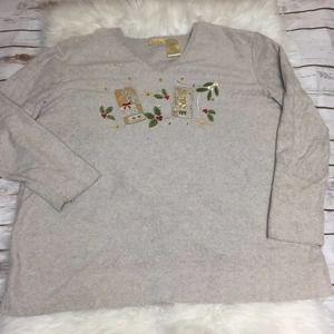 Bobbie Brooks Ugly Christmas Sweater Holiday Vneck
